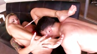 Blonde nasty chick is kneeling and fucked doggy