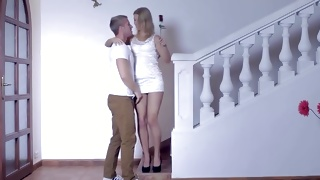 Blonde beautiful bitch gets her breasts sucked by a dude