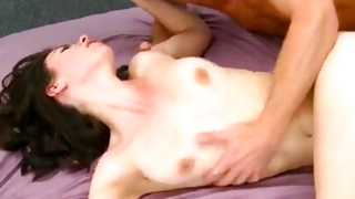 Spicy woman looks pretty while riding on the hard prick