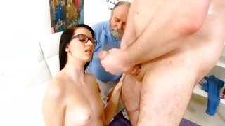 The old guy is getting his penis fucked by a babe
