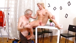Dirty old fellow is fucking the blonde horny bitch