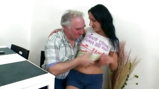 Teen porn action of an old guy rubbing the tits of a beauty
