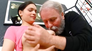 Depraved guy sucking on the yummy breasts of sluttish babe