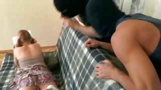 Corrupt dudes in the mask fucking the gorgeous blonde doxy