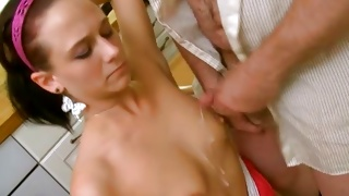 Plump depraved guy gets his heavy prick sucked by a coed