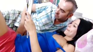 Hot teen porn with the mature guy and a lovely young gal