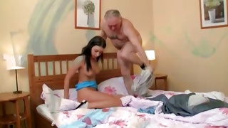 Both of them undressing for the amazing old and young fucking