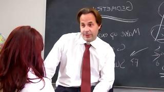 Horny teacher seducing a cutie for a sex in the classroom