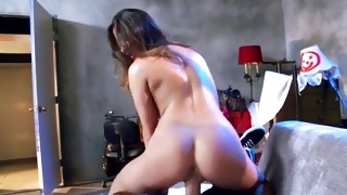 Skinny whore is swallowing a massive dick