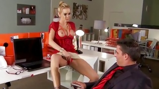 Blonde whore is getting her boobs sucked on hard