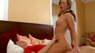 Horny guy is sucking on her wet shaved pussy hole rough