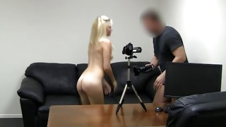 Blonde whore is getting filmed before getting a rough fuck