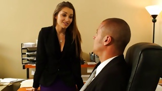 Precious young woman is posing with engaging horny guy