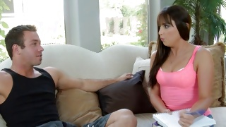 Couple looks kinky where she is seducing him