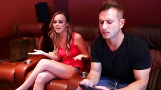 Lusty bitch in red dress checked out by a fashionable guy