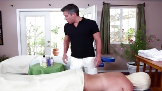 Sexy lady going to be massaged by a fellow