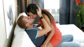 Brunette furious chick is seducing horrible man