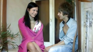 Fine threesome with unbelievable sluttish gal
