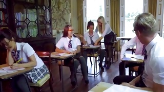 Horny young schoolgirls love being fucked in classroom