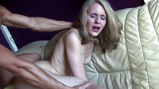 This blond pretty floozy is groaning amid dripped coarse from behind