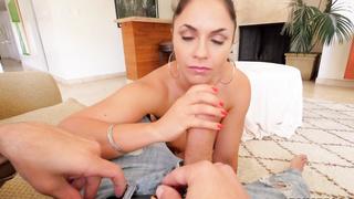 Hot Latina Maid Gargles On Huge Cock